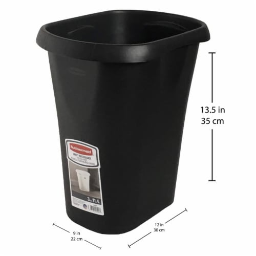 Rubbermaid 3 Gallon Plastic Home/Office Wastebasket Trash Can or Recycling Bin Perspective: back