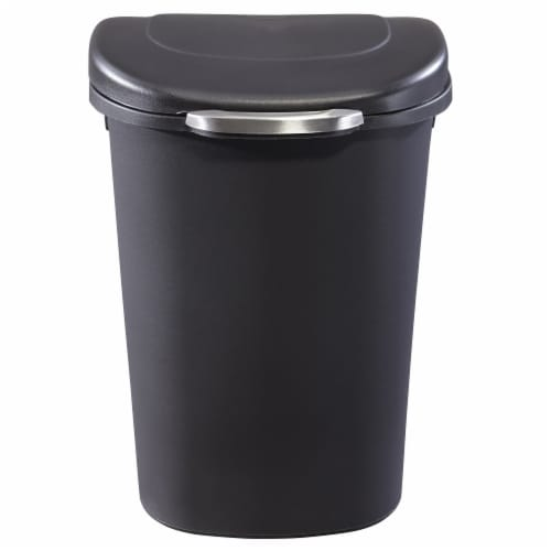 Rubbermaid Touch Top 13 Gallon Plastic Wastebasket Trash Can w/ Lid & Liner Lock Perspective: back