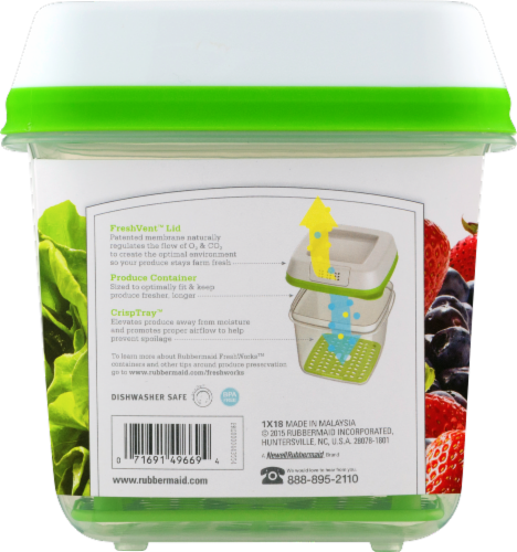 Rubbermaid Fresh Works Produce Saver Container - Green/Clear Perspective: back