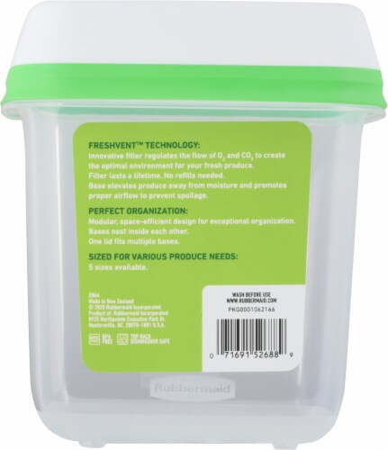 Rubbermaid® FreshWorks™ Medium Green Produce Saver Container Perspective: back
