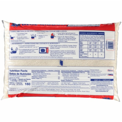 Blue Ribbon Extra Long Grain Enriched Rice Perspective: back