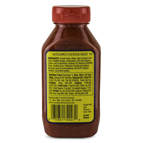 Bookbinder's Hot & Spicy Cocktail Sauce Perspective: back