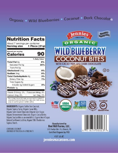 Jennies Organic Wild Blueberry Coconut Bites with Cacao Nibs & Dark Chocolate Perspective: back