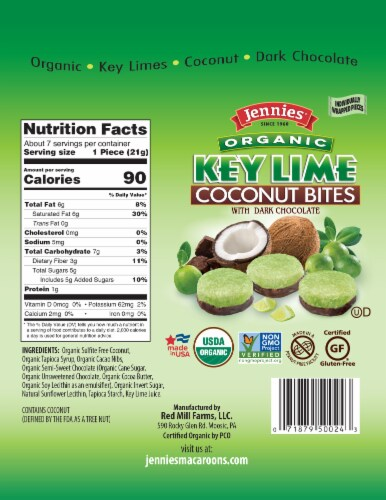 Jennies Organic Key Lime Coconut Bites with Dark Chocolate Perspective: back