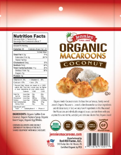Jennies Organic Coconut Macaroons Perspective: back