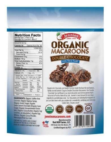 Jennies Organic Double Chocolate Sea Salt Macaroons Perspective: back