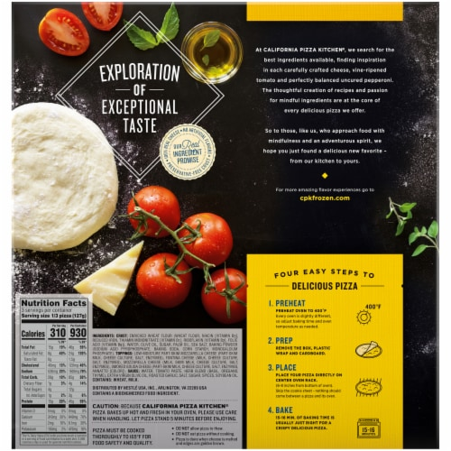 California Pizza Kitchen Crispy Thin Crust Four Cheese Pizza Perspective: back