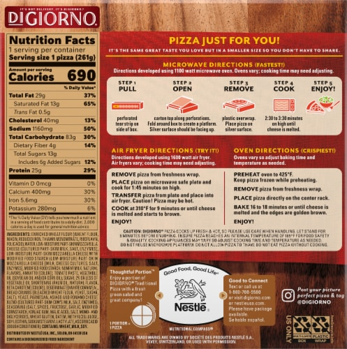DiGiorno Traditional Crust Small Four Cheese Pizza Perspective: back