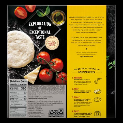 California Pizza Kitchen Margherita Recipe Crispy Thin Crust Frozen Pizza Perspective: back