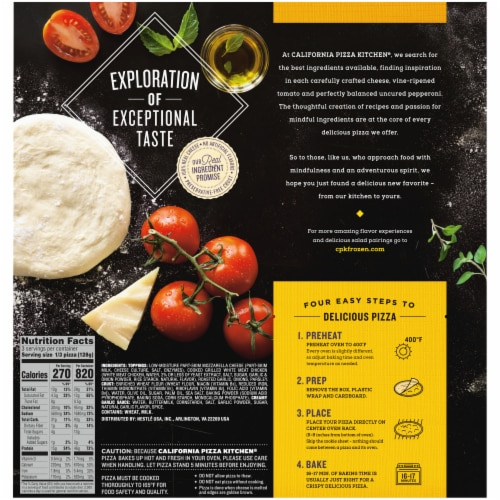 California Pizza Kitchen Roasted Garlic Chicken Frozen Pizza with Crispy Thin Crust Perspective: back