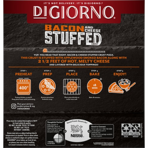DiGiorno Bacon & Cheese Stuffed Crust Chicken Bacon Ranch Rumble Pizza Perspective: back