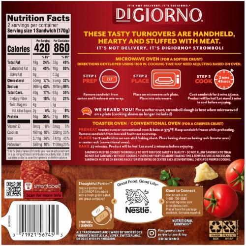 DiGiorno Pepperoni Stromboli Frozen Sandwiches Perspective: back