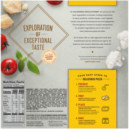 California Pizza Kitchen® Uncured Pepperoni Mushroom & Sausage Pizza with Cauliflower Pizza Crust Perspective: back