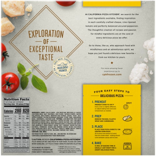 California Pizza Kitchen® Artisanal Style Cheese Frozen Pizza with Cauliflower Pizza Crust Perspective: back