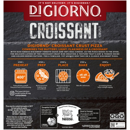 DIGIORNO Three Meat Frozen Pizza on a Croissant Crust Perspective: back