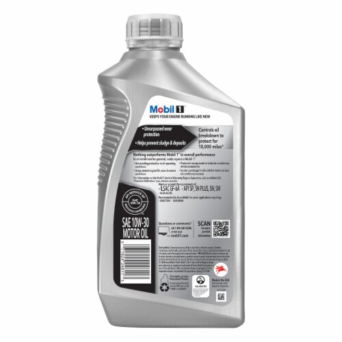 Mobil 1 10W-30 Advanced Full Synthetic Motor Oil Perspective: back