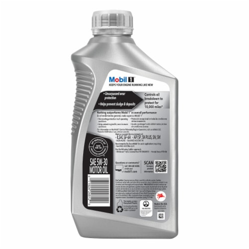 Mobil 1 5W-30 Advanced Full Synthetic Motor Oil Perspective: back