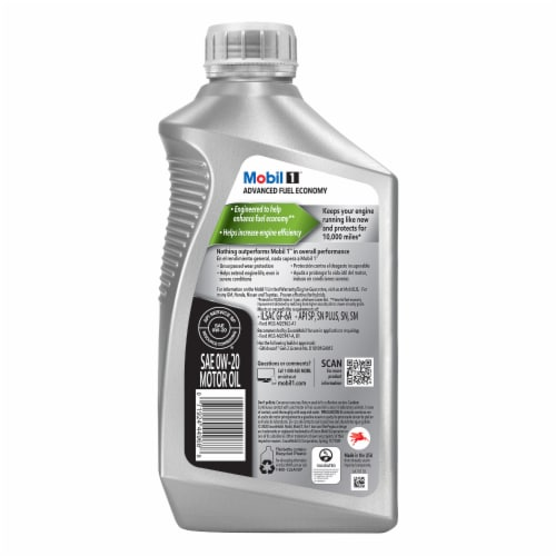 Mobil 1 Advanced Fuel Economy 0W-20 Advanced Full Synthetic Motor Oil Perspective: back