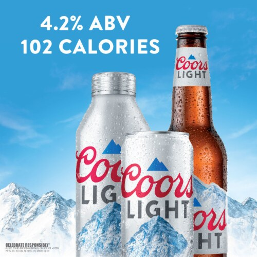 Coors Light American Light Lager Beer 4 Count Perspective: back