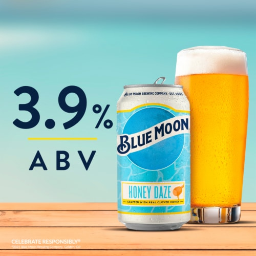 Blue Moon Honey Daze Seasonal Beer Perspective: back