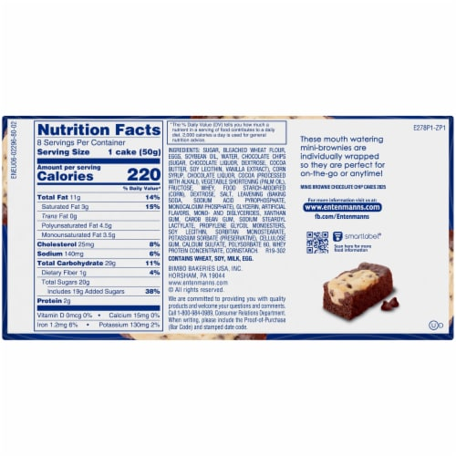 Entenmann's® Minis Brownie Chocolate Chip Snack Cakes Perspective: back