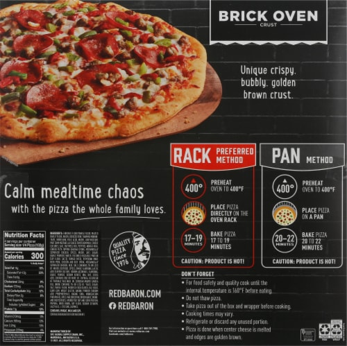 Red Baron Brick Oven Supreme Pizza Perspective: back