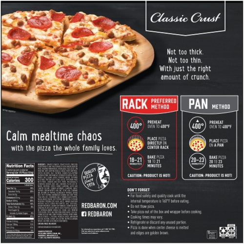 Red Baron Classic Crust Four Meat Pizza Perspective: back