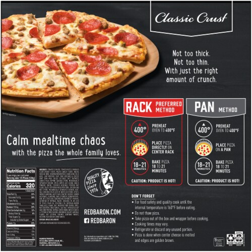 Red Baron Classic Crust Sausage & Pepperoni Pizza Perspective: back