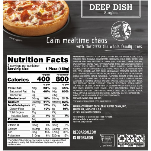 Red Baron Meat-Trio Deep Dish Singles Pizza Perspective: back