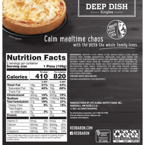 Red Baron Singles Deep Dish Cheese Pizzas Perspective: back