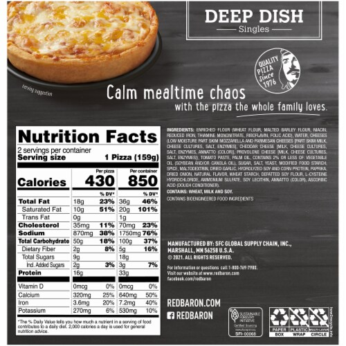 Red Baron Deep Dish Singles Four Cheese Pizza 2 Count Perspective: back