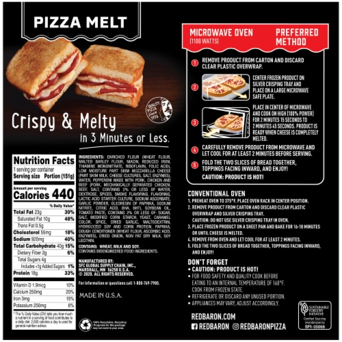 Red Baron Pepperoni Pizza Melt Perspective: back