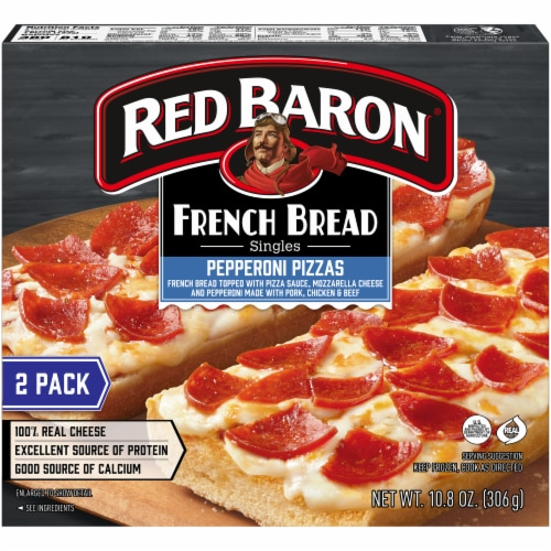 Red Baron Singles French Bread Pepperoni Pizzas Perspective: back