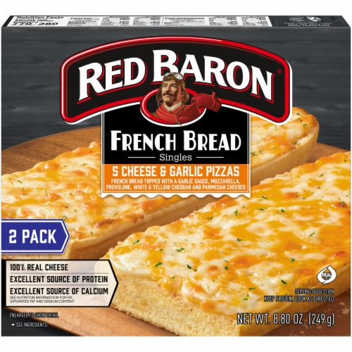 Red Baron Singles French Bread 5 Cheese and Garlic Pizza Perspective: back
