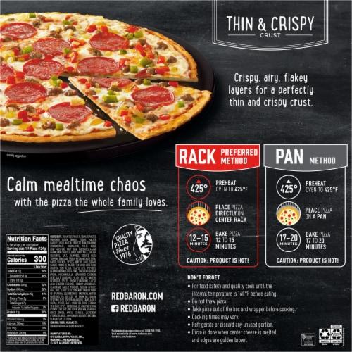 Red Baron Thin & Crispy Supreme Pizza Perspective: back