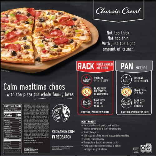 Red Baron Classic Crust Special Deluxe Pizza Perspective: back