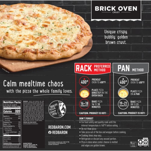 Red Baron Brick Oven Crust Cheese Trio Pizza Perspective: back