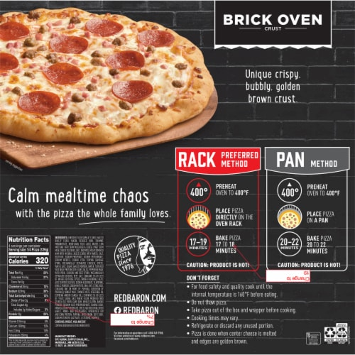 Red Baron Brick Oven Crust Meat-Trio Pizza Perspective: back