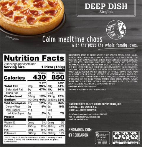 Red Baron Deep Dish Singles Pepperoni Pizzas Perspective: back