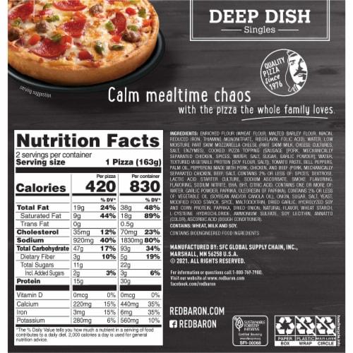 Red Baron Singles Deep Dish Supreme Pizza Perspective: back