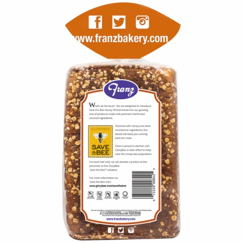 Franz® Save the Bee Honey Wheat Bread Perspective: back