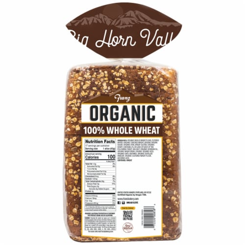 Franz® Organic Big Horn Valley 100% Whole Wheat Bread Perspective: back