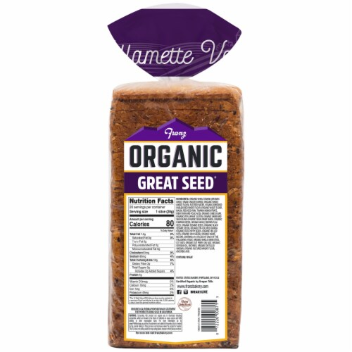 Franz® Organic Williamette Valley Thin Sliced Great Seed Bread Perspective: back