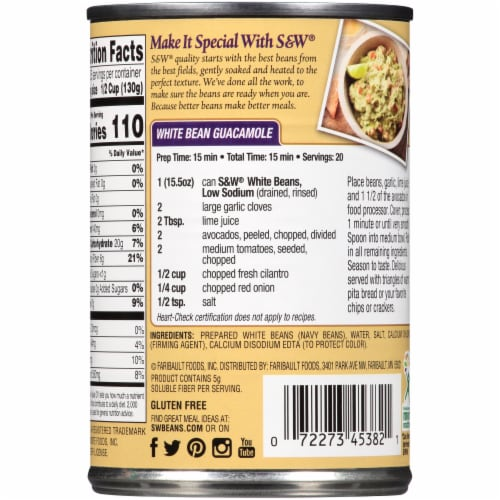S&W Reduced Sodium Premium White Beans Perspective: back