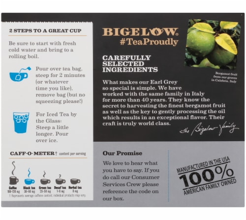 Bigelow Earl Grey Black Tea Tea Bags Perspective: back