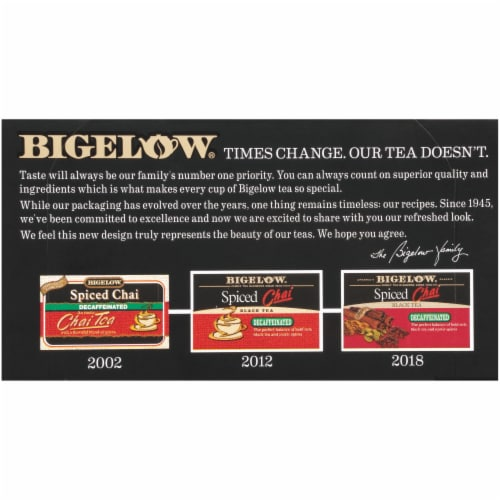 Bigelow Spiced Chai Decaffeinated Black Tea Perspective: back