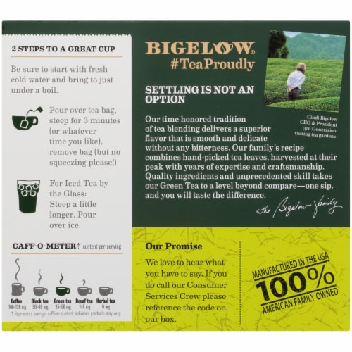Bigelow Organic Green Tea Bags Perspective: back