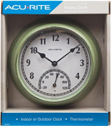 Acu-Rite Outdoor Clock with Thermometer - Rustic Green Perspective: back