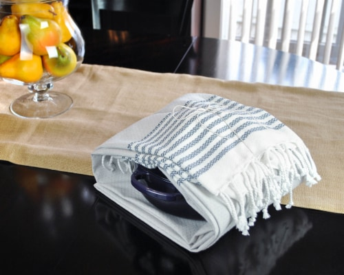 DII Navy Stitched Stripe Fouta Towel Perspective: back