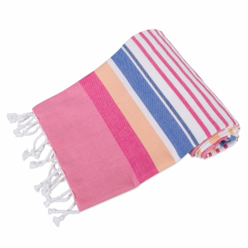 DII Fouta Towel Pink Beachy Stripe Perspective: back